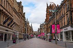 Glasgow, Scotland, UK. 1 April, 2020. Effects of Coronavirus lockdown on Glasgow life, Scotland. Empty Buchanan street the main shopping street in Glasgow.