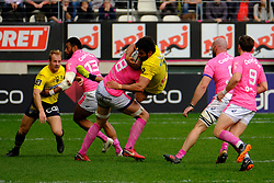 April 7, 2018 - Paris, France - Clermont Flanker VIKTOR KOLELISHVILI in action during the French rugby championship Top 14 match between Stade Francais and Clermont at Jean Bouin Stadium in Paris - France..Stade Francais won 50-13 (Credit Image: © Pierre Stevenin via ZUMA Wire)