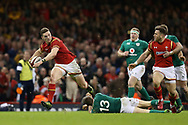 George North of Wales goes past the tackle from Garry Ringrose of Ireland (13). RBS Six Nations 2017 international rugby, Wales v Ireland at the Principality Stadium in Cardiff , South Wales on Friday 10th March 2017.  pic by Andrew Orchard, Andrew Orchard sports photography
