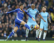 Eden Hazard of Chelsea and Fernandinho of Manchester City during the Premier League match at the Etihad Stadium, Manchester. Picture date: December 3rd, 2016. Pic Simon Bellis/Sportimage