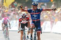 Sykkel<br /> Tour de France<br /> Foto: Dppi/Digitalsport<br /> NORWAY ONLY<br /> <br /> STAGE 15 <br /> VALREAS > VILLARD DE LANS<br /> 20/07/2004<br /> <br /> LANCE ARMSTRONG (USA) / US POSTAL - WINNER IVAN BASSO (ITA) / TEAM CSC - 2ND - JAN ULLRICH (GER) / T-MOBILE TEAM - 3RD