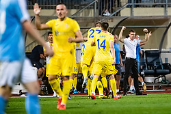 Players of NK Domzale celebrating during Football match between NK Domzale and Malmo FF in Second Qualifying match of UEFA Europa League 2019/2020, on July 25th, 2019 in Sports park Domzale, Domzale, Slovenia. Photo by Grega Valancic / Sportida