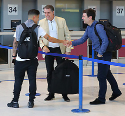 Andy Burnham the Mayor of Manchester takes a picture of the Mayor of Liverpool Steve Rotheram and Phillipe Courtinho and The Liverpool Football Team fly out of Manchester Airport to Hong Kong on Sunday morning.