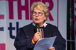 London, UK. 19 October, 2019. Sandi Toksvig, writer and broadcaster, addresses hundreds of thousands of pro-EU citizens at a Together for the Final Say People's Vote rally in Parliament Square as MPs meet in a 'super Saturday' Commons session, the first such sitting since the Falklands conflict, to vote, subject to the Sir Oliver Letwin amendment, on the Brexit deal negotiated by Prime Minister Boris Johnson with the European Union.