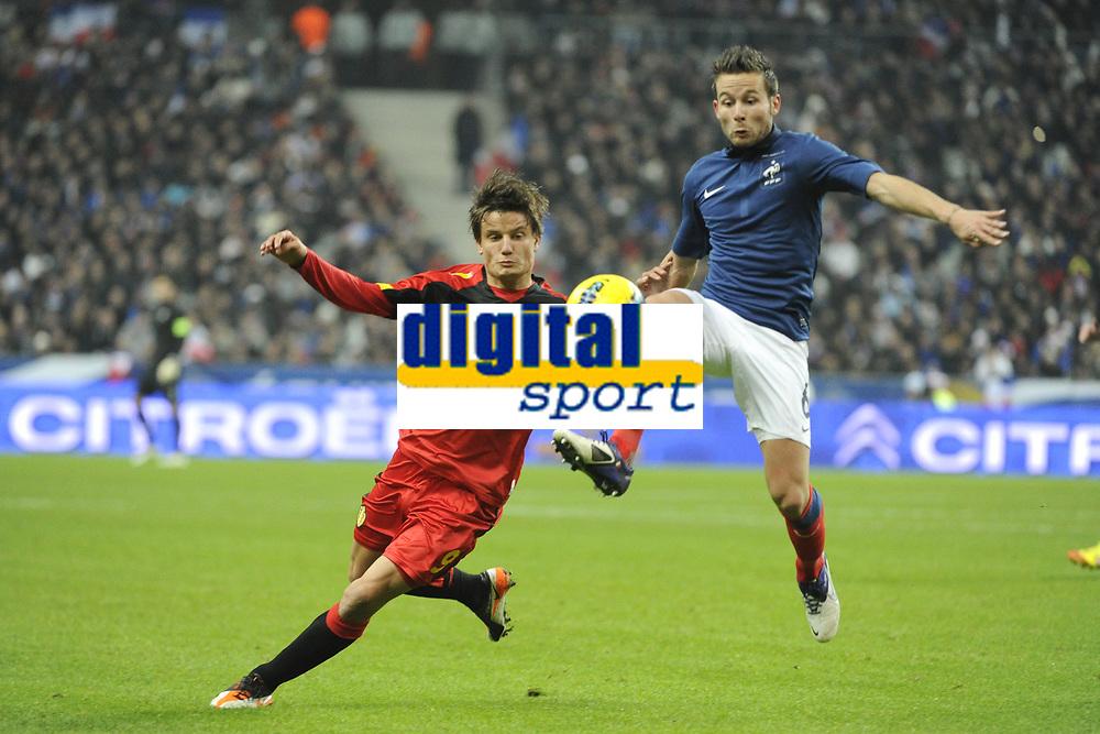 FOOTBALL - INTERNATIONAL FRIENDLY GAMES 2011/2012 - FRANCE v BELGIUM - 15/11/2011 - PHOTO JEAN MARIE HERVIO / DPPI - JELLE VOSSEN (BEL) / YOHAN CABAYE (FRA)