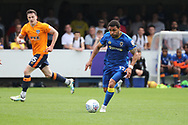 AFC Wimbledon striker Andy Barcham (17) dribbling during the EFL Sky Bet League 1 match between AFC Wimbledon and Oldham Athletic at the Cherry Red Records Stadium, Kingston, England on 21 April 2018. Picture by Matthew Redman.