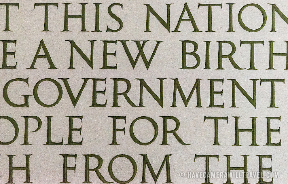 """Close-up detail of part of the Gettysburg that is etched ino the wall of the Lincoln Memorial in Washington DC. The shot is focused on the word """"Government"""" that forms the famous quote: """"government of the people, by the people, for the people, shall not perish from the earth."""""""