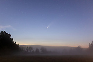 Comet Neowise and stars over a foggy farm field in the Town of Wallkill, N.Y., on July 17, 2020.