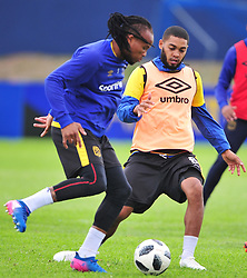Cape Town--180329 Cape Town City defenders Edmilson Dove and Ibrahim Seedat at training preparing for heir Nedbank Cup game against Sundowns on sunday  .Photographer;Phando Jikelo/African News Agency/ANA