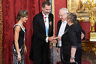 King Felipe VI of Spain, Queen Letizia of Spain, Reuven Rivlinm, Nechama Rivlin attended a Gala dinner at the Royal Palace on November 6, 2017 in Madrid, Spain
