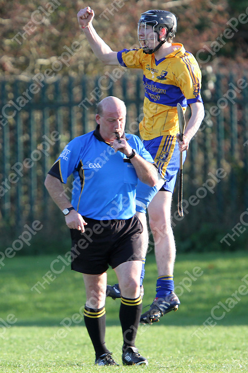 """Alan Mulready Sixmilebridge shows his delight after scoring the winning goal for Sixmilebridge in the Minor """"A"""" Hurling Final. - Photograph by Flann Howard"""