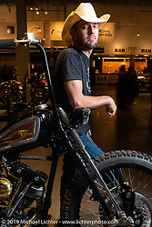 Custom bike builder Kyle Shorey at the Handbuilt Show. Austin, TX. USA. Sunday April 22, 2018. Photography ©2018 Michael Lichter.
