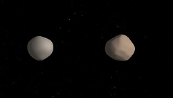 July 12, 2018 - Space - Artist's concept of what binary asteroid 2017 YE5 might look like. The two objects showed striking differences in radar reflectivity, which could indicate that they have different surface properties. (Credit Image: © NASA/ZUMA Wire/ZUMAPRESS.com)