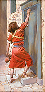 The Signs on the Door [Book of Exodus] Gouache paint on cardboard by James Tissot  1896-1902