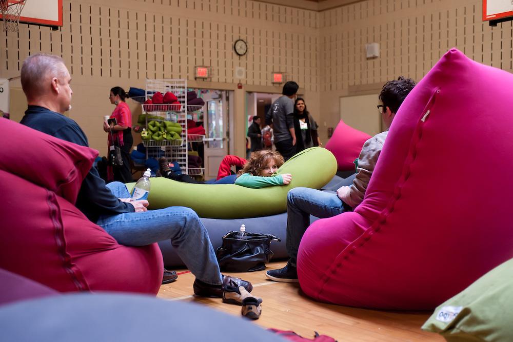 TEDx Beacon Street attendees take a Yogibos bean bag break at the Lincoln School in Brookline, MA.