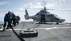 MEDITERRANEAN SEA (May 18, 2017) Sailors retract a refueling line from a French navy Panther anti-submarine helicopter assigned to the Cassard-class anti-air frigate FS Jean Bart (D615) during flight quarters aboard the Arleigh Burke-class guided-missile destroyer USS Ross (DDG 71). Ross is forward-deployed to Rota, Spain, conducting naval operations in the U.S. 6th Fleet area of operations in support of U.S. national security interests in Europe and Africa. (U.S. Navy photo by Mass Communication Specialist 3rd Class Robert S. Price/Released) 170518-N-FQ994-341<br /> Join the conversation:<br /> http://www.navy.mil/viewGallery.asp<br /> http://www.facebook.com/USNavy<br /> http://www.twitter.com/USNavy<br /> http://navylive.dodlive.mil<br /> http://pinterest.com<br /> https://plus.google.com