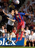 Photo: Daniel Hambury.<br />Luton Town v Crystal Palace. Coca Cola Championship. 09/09/2006.<br />Luton's Rowan Vine and Palace's Mark Hudson battle.