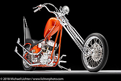 A custom motorcycle built from a S&S Panhead by Travis Stuckey of Omaha, NA. Photographed by Michael Lichter in Sacramento, CA, USA on 1/11/19. ©2019 Michael Lichter.