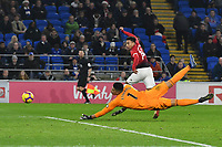 Football - 2018 / 2019 Premier League - Cardiff City vs. Manchester United<br /> <br /> Jesse Lingard of Manchester Utd scores his team's 5th goal, at Cardiff City Stadium.<br /> <br /> COLORSPORT/WINSTON BYNORTH