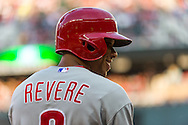 Ben Revere #2 of the Philadelphia Phillies and former Minnesota Twin smiles in the on-deck circle during a game against the Minnesota Twins on June 11, 2013 at Target Field in Minneapolis, Minnesota.  The Twins defeated the Phillies 3 to 2.  Photo: Ben Krause