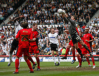 Photo: Steve Bond.<br />Derby County v Coventry City. Coca Cola Championship. 09/04/2007. Coventry keeper Andy Marshall punches clear