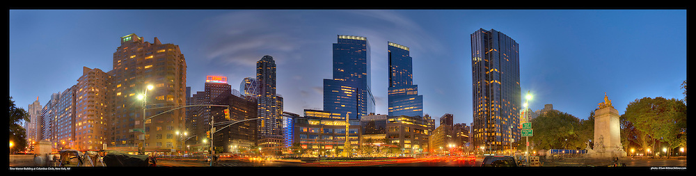 Panoramic Photograph of Columbus Circle in New York City.  Features Time  Warner Building.  Print Size (in inches): 15x4; 24x6; 36x9; 48x12; 60x15; 72x18