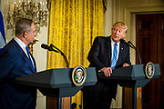 President Donald Trump and Israeli prime minister Benjamin Netanyahu hold a joint press conference in the East Room of the White House in Washington, District of Columbia, U.S., on Wednesday, Feb. 15, 2017.
