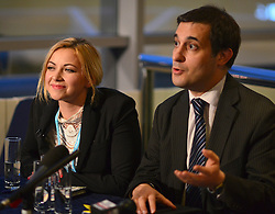 © Licensed to London News Pictures. 09/10/2012. Birmingham, UK Charlotte Church and Evan Harris hold a 'Hacked Off' press conference after a private meeting with the Prime Minister David Cameron about press regulation  at The Conservative Party Conference at the ICC today 9th October 2012. Photo credit : Stephen Simpson/LNP