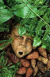 Mask sculpture placed amongst ferns and fir cones