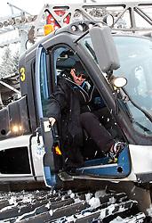 03.03.2011, Pista di Prampero, Tarvis, ITA, FIS Weltcup Ski Alpin, 2. Abfahrtstraining der Damen, im Bild FIS Renndirektor Weltcup Damen Jan Tischhauser in einer Pistenraupe, gibt dem Fahrer Anweisungen // FIS race director Jan Tischhauser in a snow cat gives instructions during Worldcup Ladie's during Ladie's Downhill Training, FIS World Cup Alpin Ski in Tarvisio Italy on 3/3/2011. EXPA Pictures © 2011, PhotoCredit: EXPA/ J. Groder