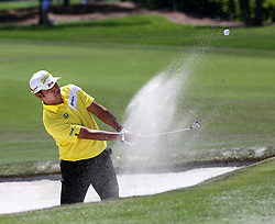 March 16, 2018 - Orlando, FL, USA - Hideki Matsuyama, from Sendai, Japan, chips for a birdie from the bunker at the first green during the second day of the Arnold Palmer Invitational at Bay Hill Friday, March 16, 2018 in Orlando, Fla. (Credit Image: © Joe Burbank/TNS via ZUMA Wire)