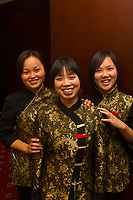 Three waitresses, Taijan Long Restaurant, Guanquin Street, Suzhou, China