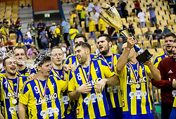 Gal Marguc, David Razgor, Tilen Kodrin, Blaz Janc, Kristian Beciri and Luka Zvizej of Celje celebrate during trophy ceremony when RK Celje Pivovarna Lasko awarded as National Champions 2017 after handball match between RK Celje Pivovarna Lasko and RK Gorenje Velenje in Last Round of 1. Liga NLB 2016/17, on June 2, 2017 in Arena Zlatorog, Celje, Slovenia. Photo by Vid Ponikvar / Sportida