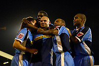 Photo: Daniel Hambury.<br />Fulham v Wycombe Wanderers. Carling Cup. 20/09/2006.<br />Wycombe's Tommy Mooney (centre) celebrates his goal with team mates. 0-2.
