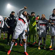 Besiktas's players celebrate victory during their Turkish Super League soccer match Genclerbirligi between Besiktas at the 19 Mayis stadium in Ankara Turkey on Monday, 26 January 2015. Photo by Kurtulus YILMAZ/TURKPIX
