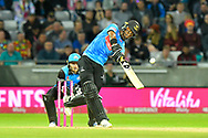 Delray Rawlins of Sussex plays an attacking shot during the final of the Vitality T20 Finals Day 2018 match between Worcestershire Rapids and Sussex Sharks at Edgbaston, Birmingham, United Kingdom on 15 September 2018.
