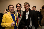 Mark Newson, Tim Jefferies and Simon Le Bon  Exhibition of work by Marc Newson at the Gagosian Gallery, Davies st. London. afterwards at Mr. Chow, Knightsbridge. 5 March 2008.  *** Local Caption *** -DO NOT ARCHIVE-© Copyright Photograph by Dafydd Jones. 248 Clapham Rd. London SW9 0PZ. Tel 0207 820 0771. www.dafjones.com.