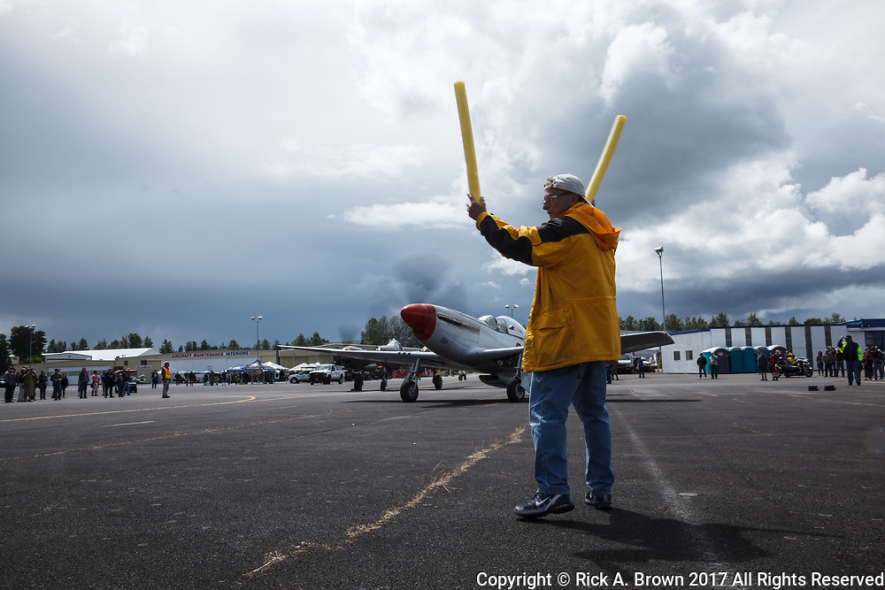 Erickson Aircraft Collection's P-51 Mustang taxiing at Warbirds Over the West.