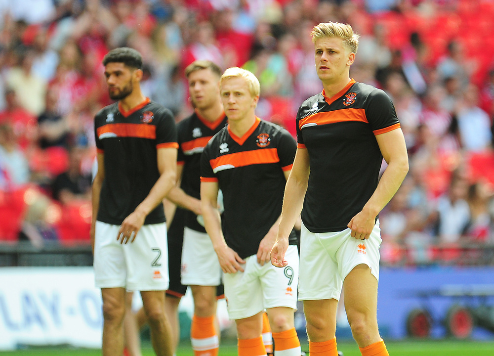 Blackpool's Brad Potts during the pre-match warm-up <br /> <br /> Photographer Kevin Barnes/CameraSport<br /> <br /> The EFL Sky Bet League Two Play-Off Final - Blackpool v Exeter City - Sunday May 28th 2017 - Wembley Stadium - London<br /> <br /> World Copyright © 2017 CameraSport. All rights reserved. 43 Linden Ave. Countesthorpe. Leicester. England. LE8 5PG - Tel: +44 (0) 116 277 4147 - admin@camerasport.com - www.camerasport.com