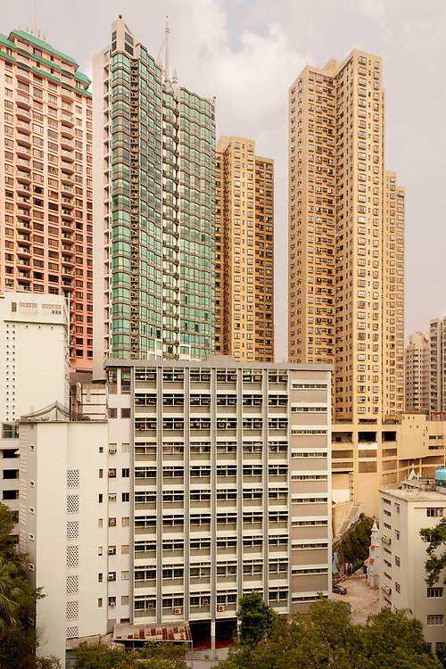 Skyline of tall residential skyscrapers of apartments in Central Hong Kong.