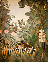 """National Gallery, Washington DC. Painting """"Equatorial Jungle"""" by Rousseau"""