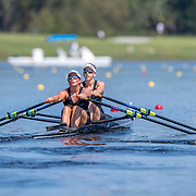 Olivia Loe and Brooke Donoghue New Zealand Womens Double Scull<br /> <br /> Qualification heats at the World Championships, Sarasota, Florida, USA Monday 25 September 2017. Copyright photo © Steve McArthur / Rowing NZ