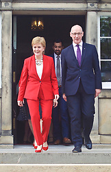 Nicola Sturgeon and John Swinney lead new cabinet out on to steps at Bute House, Edinburgh  pic copyright Terry Murden @edinburghelitemedia