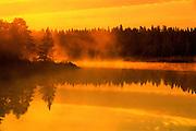 fog at sunrise over WHiteshell River<br /> Whiteshell Provincial Park<br /> Manitoba<br /> Canada