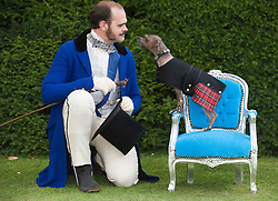© licensed to London News Pictures. 18/06/2011. London, UK. Mugley the 8 year-old Hairless Khala sits on a throne next to Arthur Wellesley, The duke of Wellington at  the The Kensington Palace Dashing Dog Show set in the grounds of the Historic Kensington Palace today (18/06/2011). Mugley competed in the 'Prince Charmin' competition. Photo credit should read Ben Cawthra/LNP