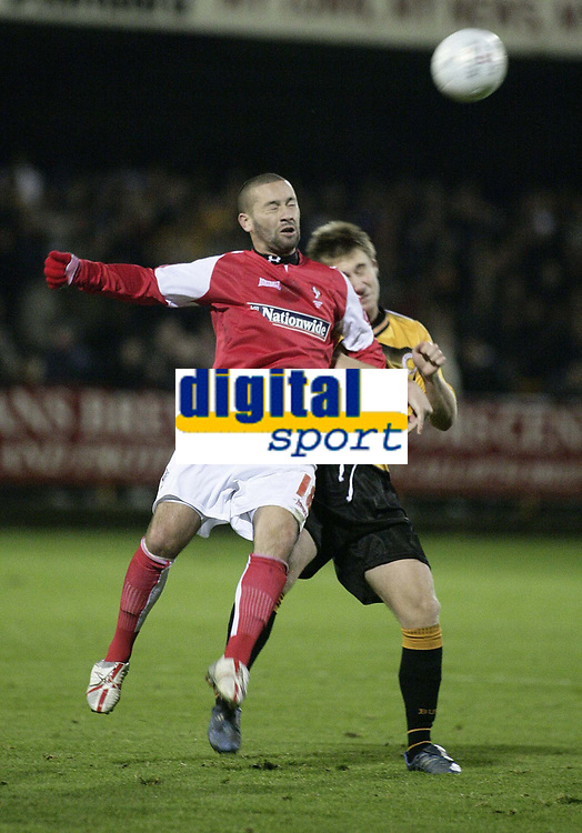 Photo: Barry Bland.<br />Boston United v Swindon Town. The FA Cup. 16/11/2005.<br />Christian Roberts and Alan White.