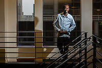 """Barkhad Abdi was watching TV at home in Minneapolis when he saw an ad for a movie seeking Somali actors in his community. Never having acted before, Abdi auditioned and got the role, as a menacing pirate opposite Tom Hanks in """"Captain Phillips.""""<br /> <br />  Photographer: Robert Caplin For The LATimes"""