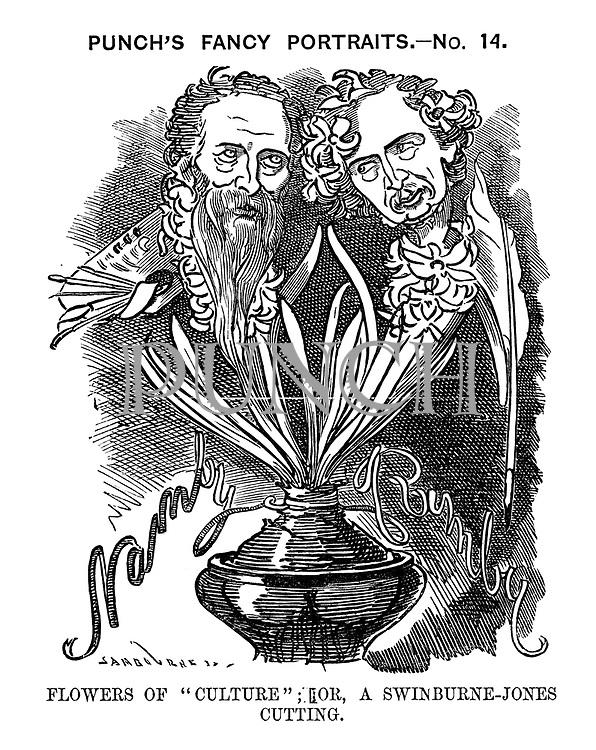 "Punch's Fancy Portraits.- No. 14. Flowers of ""Culture""; Or, A Swinburne-Jones Cutting."