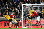 Wolverhampton Wanderers forward Diogo Jota (18) shoots at goal during the The FA Cup match between Wolverhampton Wanderers and Manchester United at Molineux, Wolverhampton, England on 16 March 2019.