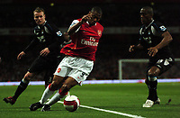 Photo: Tony Oudot.<br /> Arsenal v Manchester City. The Barclays Premiership. 17/04/2007.<br /> Julio Baptista of Arsenal goes past Michael Ball and Sylvain Distin of Manchester City